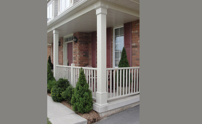 vinyl square columns on a porch