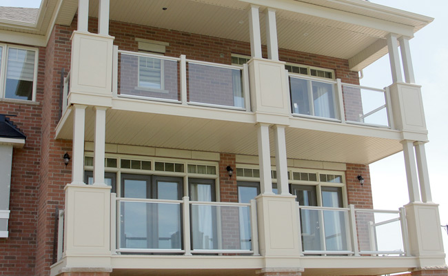 exterior columns supporting balconies