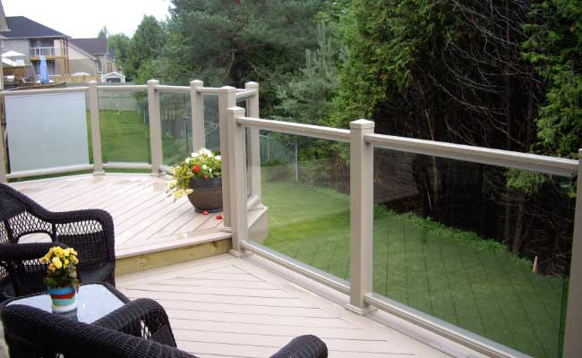 exterior railing with glass