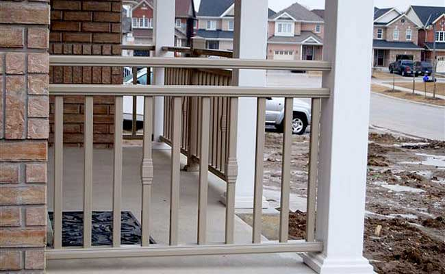 porch railing with decorative accents